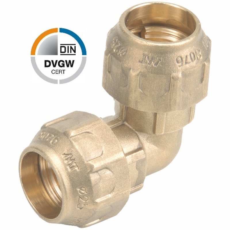 Brass elbow 90° compression fitting, DVGW