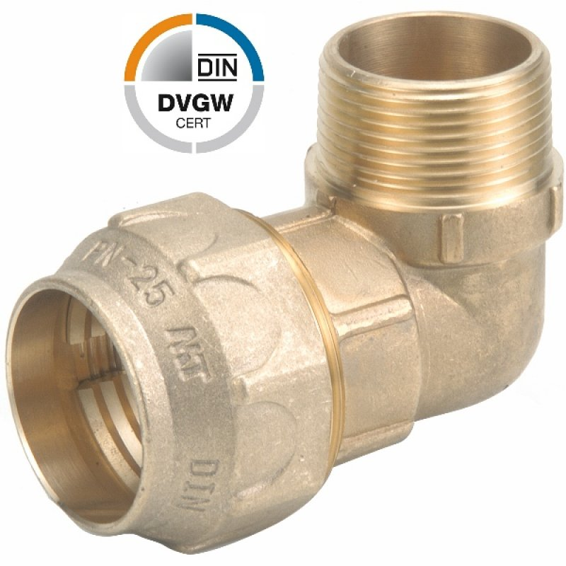 Brass elbow 90° compression fitting x male thread, DVGW