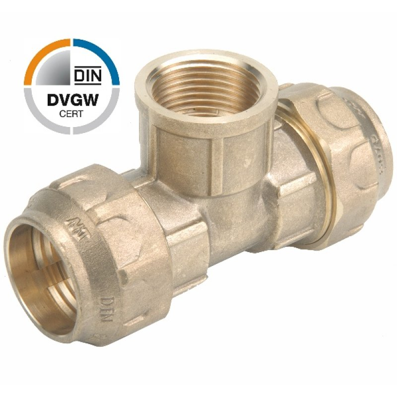 Brass tee 90° compression fitting x female thread, DVGW