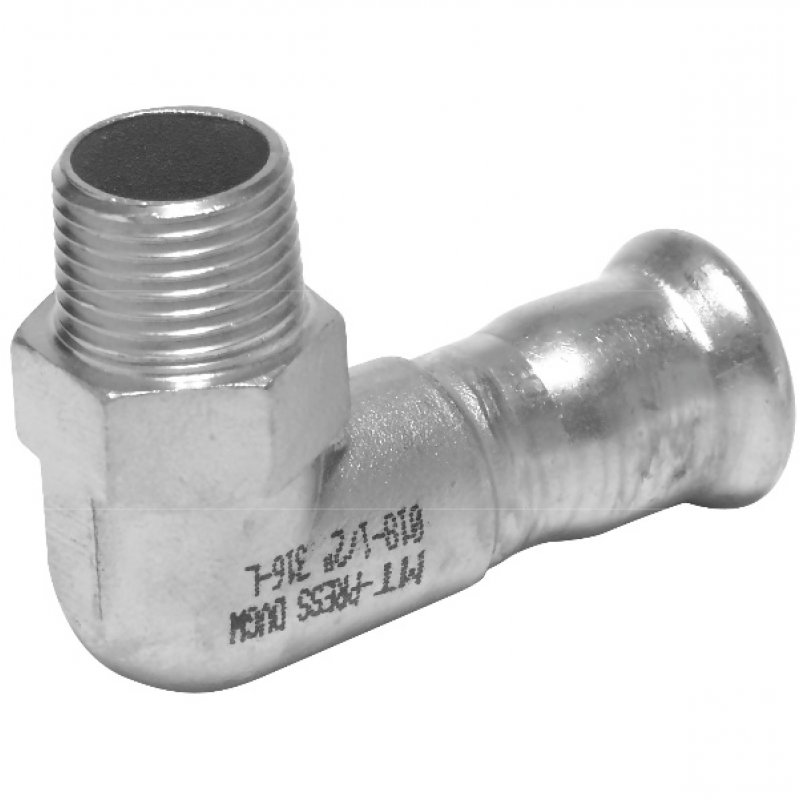 A4 ss press fitting elbow 90° with male thread, M-profile
