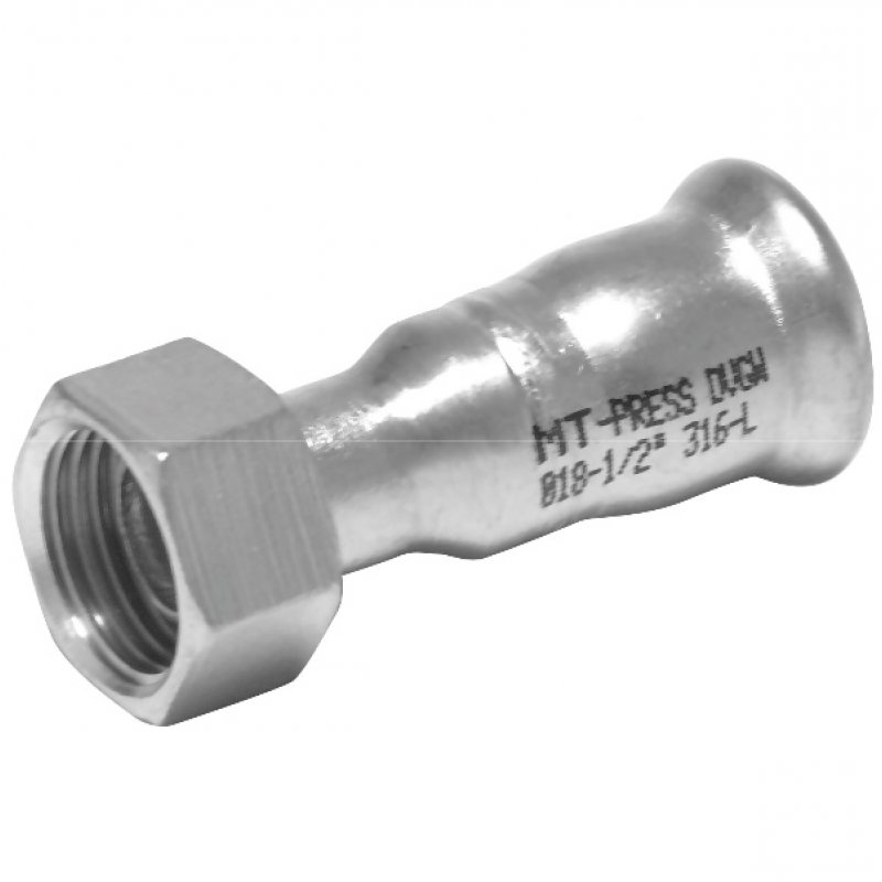 A4 ss press fitting socket with female thread, M-profile