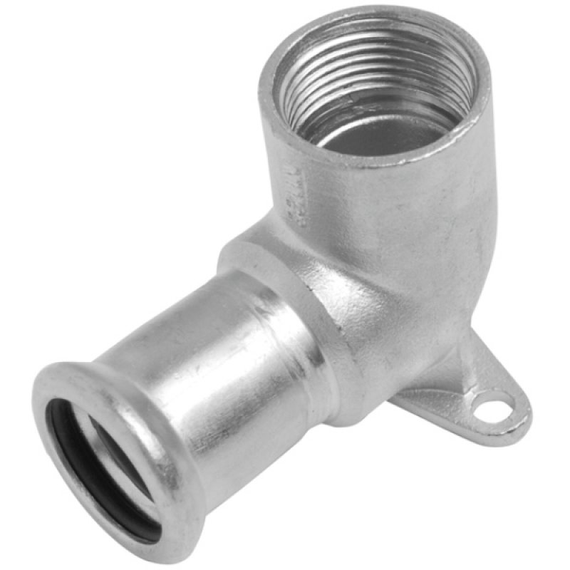 A4 ss press fitting elbow 90° with flange and female thread, M-profile