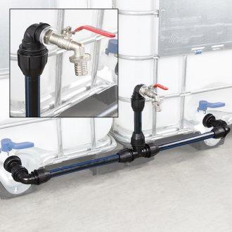 IBC Verbindungsset Container nebeneinander mit Schwanenhals Wasserhahn