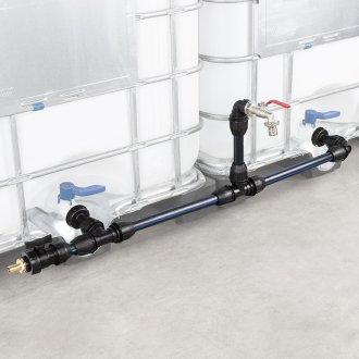 IBC Verbindungsset Container nebeneinander Set mit Schwanenhals Wasserhahn Zusatzanschluss Tülle 25mm