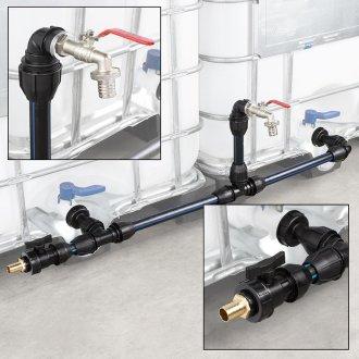 IBC Verbindungsset Container nebeneinander Set mit Schwanenhals Wasserhahn Zusatzanschluss Tülle 32mm