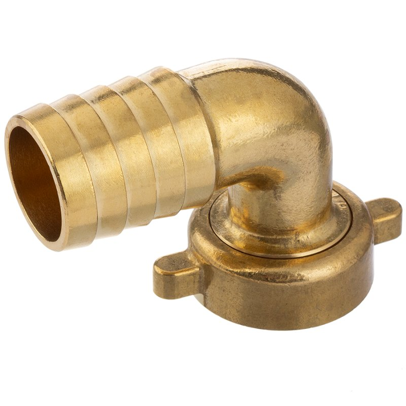 Brass hose tail 90° with female thread and nut