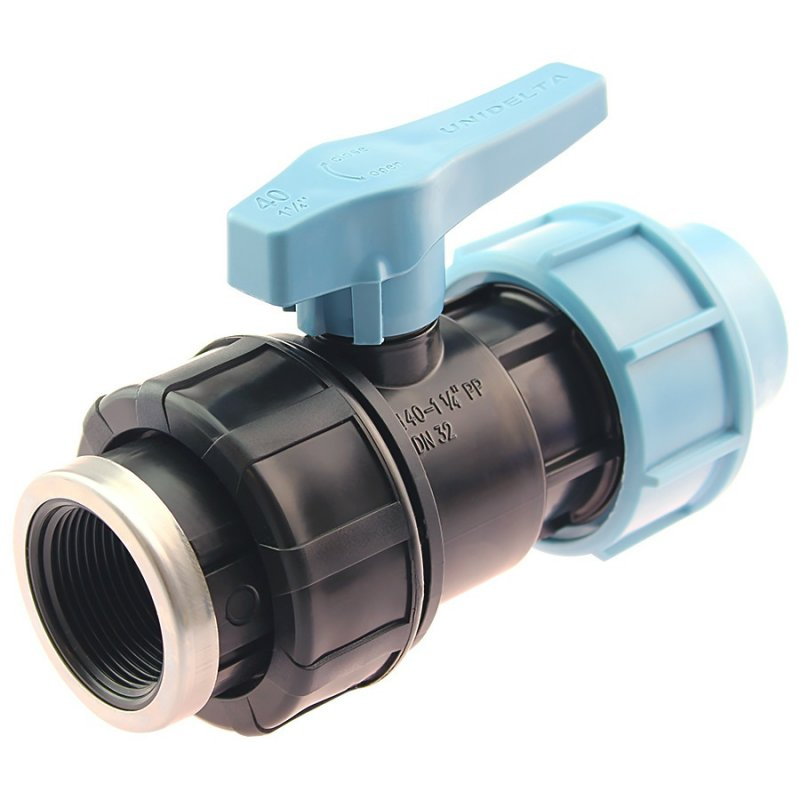 PP 2 way ball valve compression fitting x female thread, DVGW