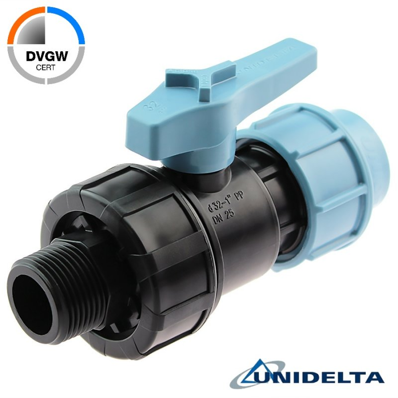 PP 2 way ball valve compression fitting x male thread, DVGW