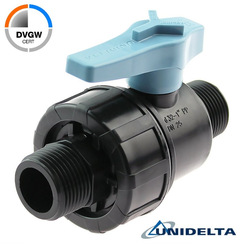 PP 2 way male threaded ball valve, DVGW