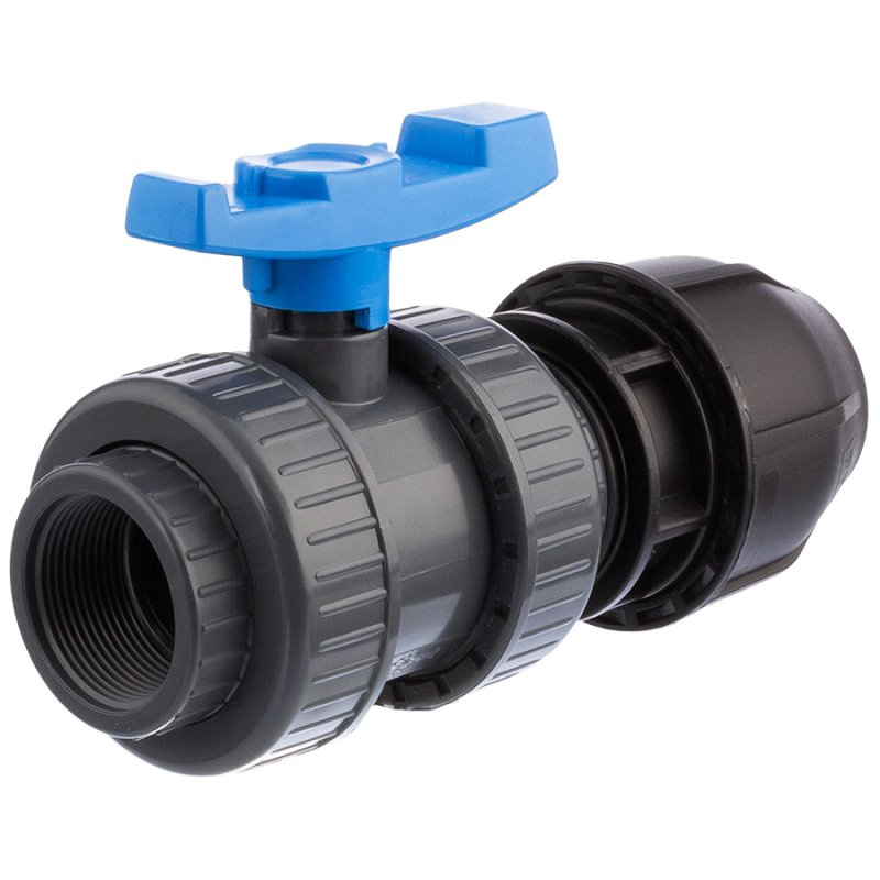 U-PVC and HDPE 2 way female threaded ball valve x PP compression fitting for PE pipes