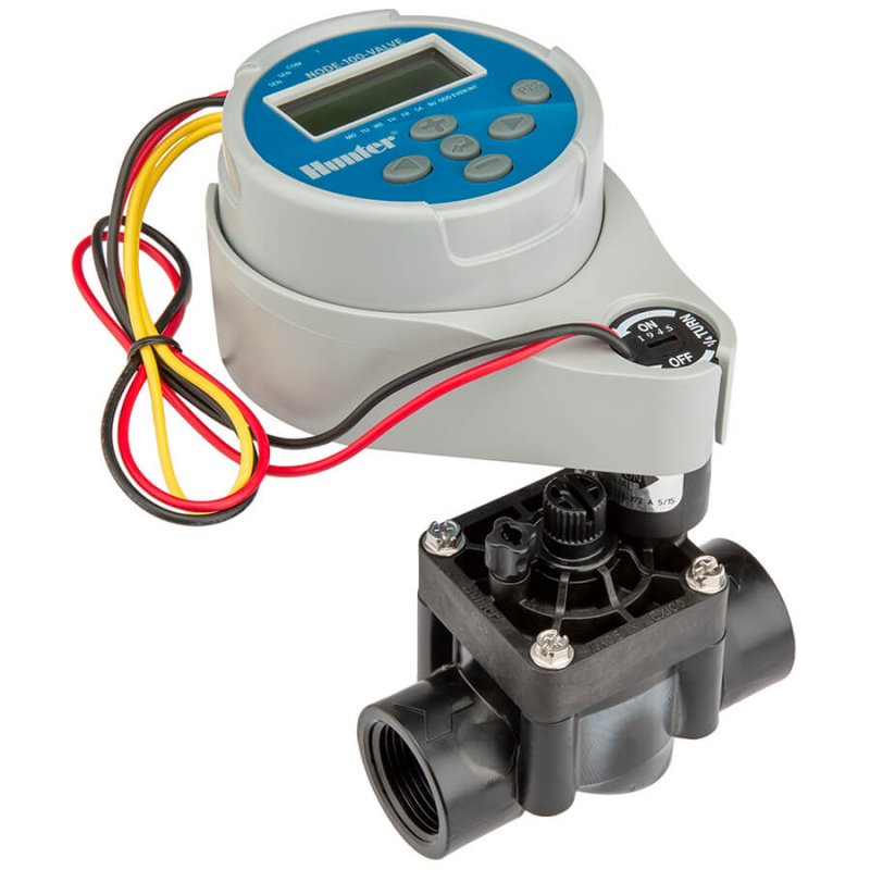 Hunter Node irrigation controller with solenoid valve